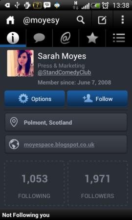 Akun Twitter Sarah Moyes