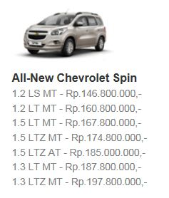 Harga Chevy Spin