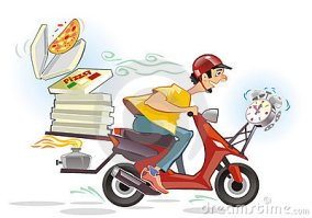 Ilustrasi Pengantar Pizza