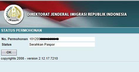 Cek status Paspor lewat Website