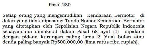 Pasal 280 UU No. 22 Tahun 2009