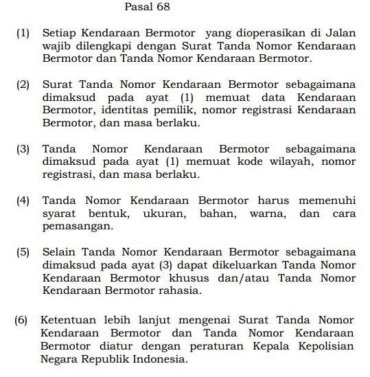 Pasal 68 UU No. 22 Tahun 2009