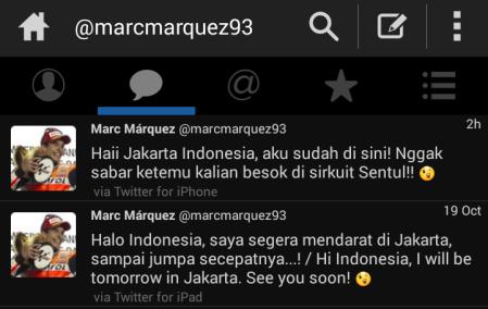 Marquez sapa Indonesia melaui Twitter