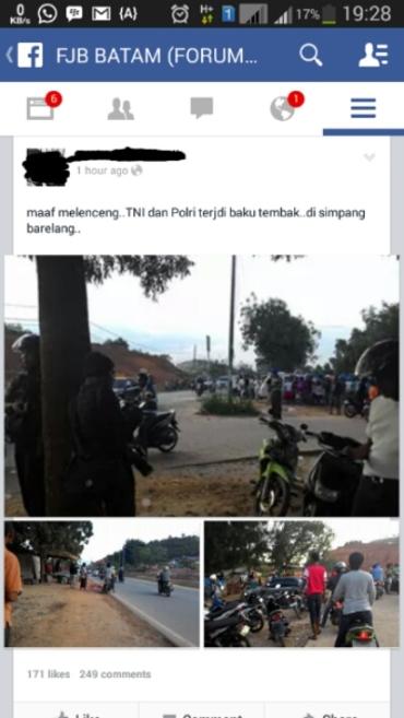 Foto-foto di sekitar lokasi baku tembak yang diupload warga
