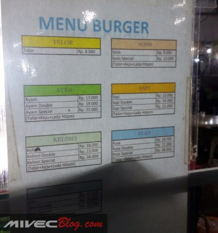 Daftar Harga Burger Ramly
