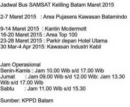 Jadwal Samsat Keliling Kota Batam Maret 2015