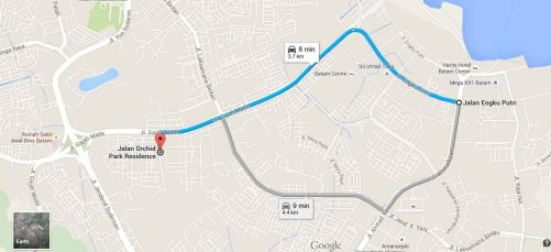 Peta ke Sate Kendal - Dari Arah Batam Center