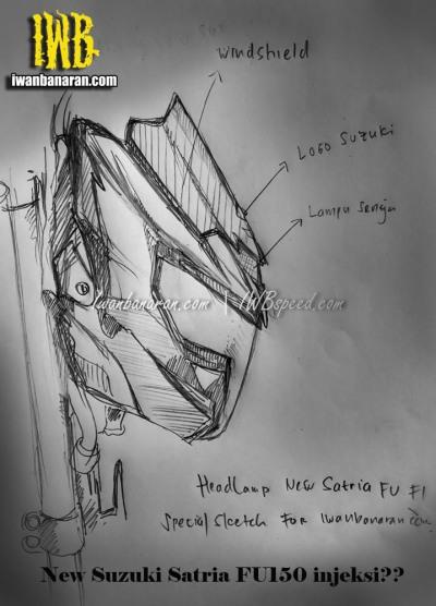 Sketsa Headlamp Satria Injeksi - Tampak Samping