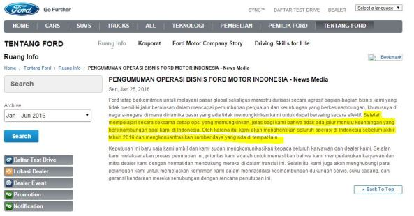 Alasan Ford Indonesia Tutup