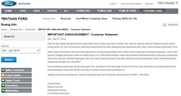 Pernyataan Resmi Ford Tutup
