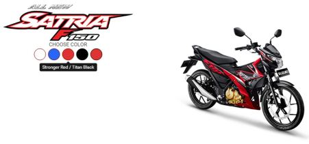All New Satria F150 Stronger Red - Titan Black