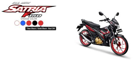 All New Satria F150 Titan Black - Solid Black Red CW