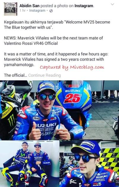 Update dari Abidin San - MV25 Resmi ke Yamaha