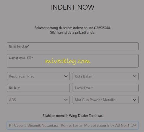Formulir Inden CBR250RR online