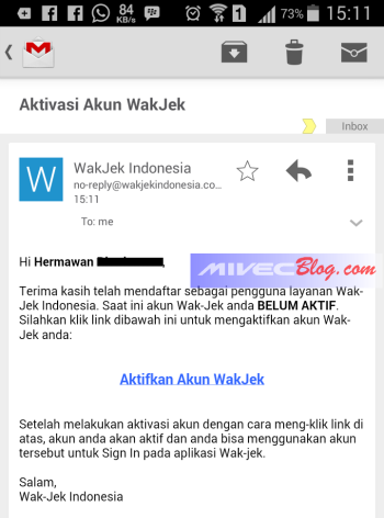 Aktivasi akun WakJek Batam