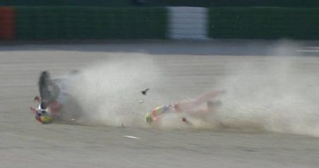 Iannone Crash di FP1 MotoGP Misano