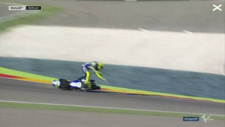 Rossi Crash di FP3 Aragon