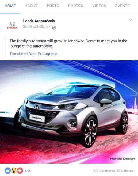 Honda Brazil mengunggah Rendering Honda WR-V
