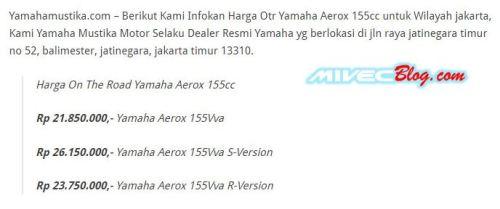 Harga Aerox 155