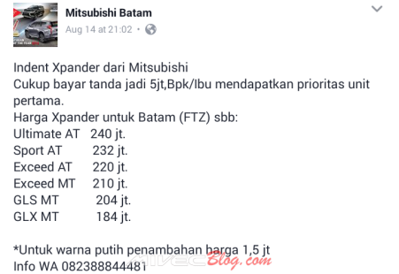 Harga Mitsubishi Xpander Batam