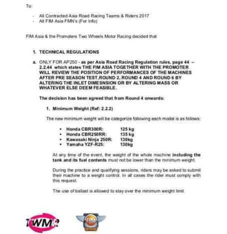 Perubahan Regulasi ARRC kelas AP250 di Sentul