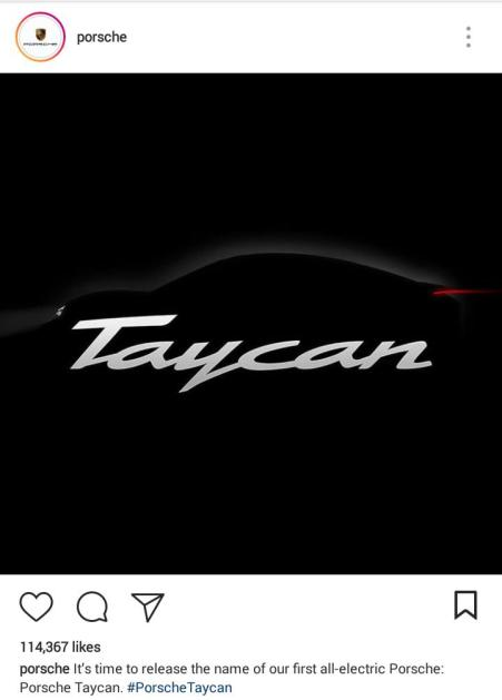 Akun Instagram Porsche umumkan nama Taycan