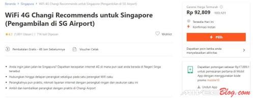 Contoh biaya Sewa Modem 4G untuk di Singapura